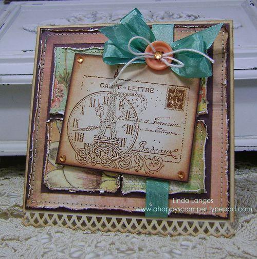 Stampers Challenge Paris BG Curio square Card