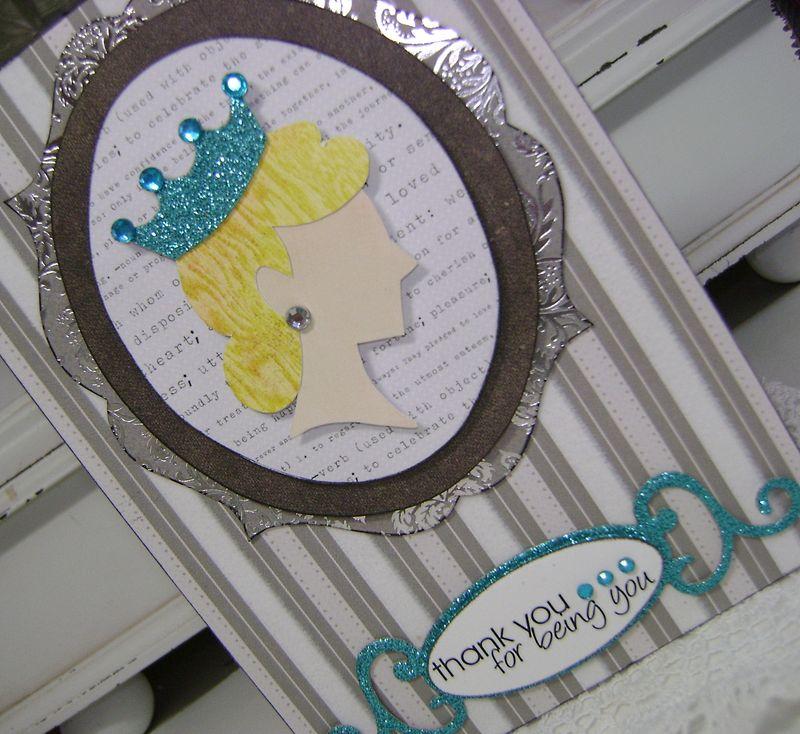 Paper piecing card close up