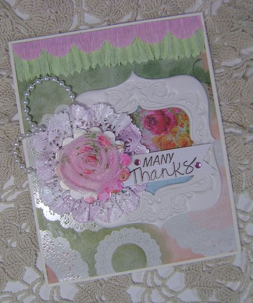 Doily flower Card - shiny