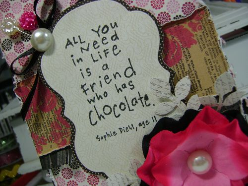 Friend with Chocolate close up sentiment