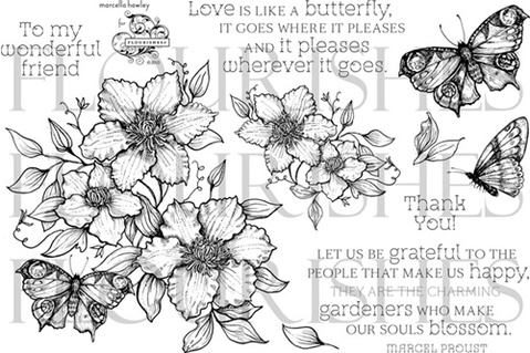 Flourishes Butterfly Blossom Stamp Set SB