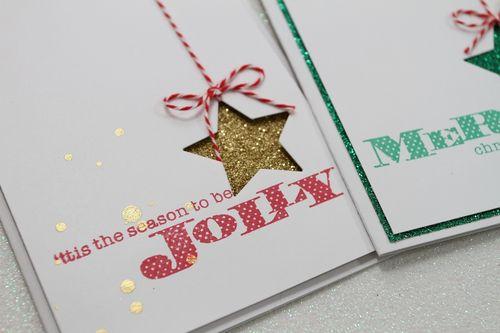 Xmas Star Cards w glitter paper CU