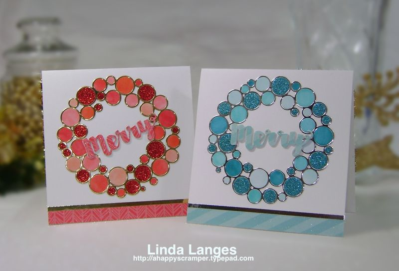 Red and teal Ring Wreath Cards