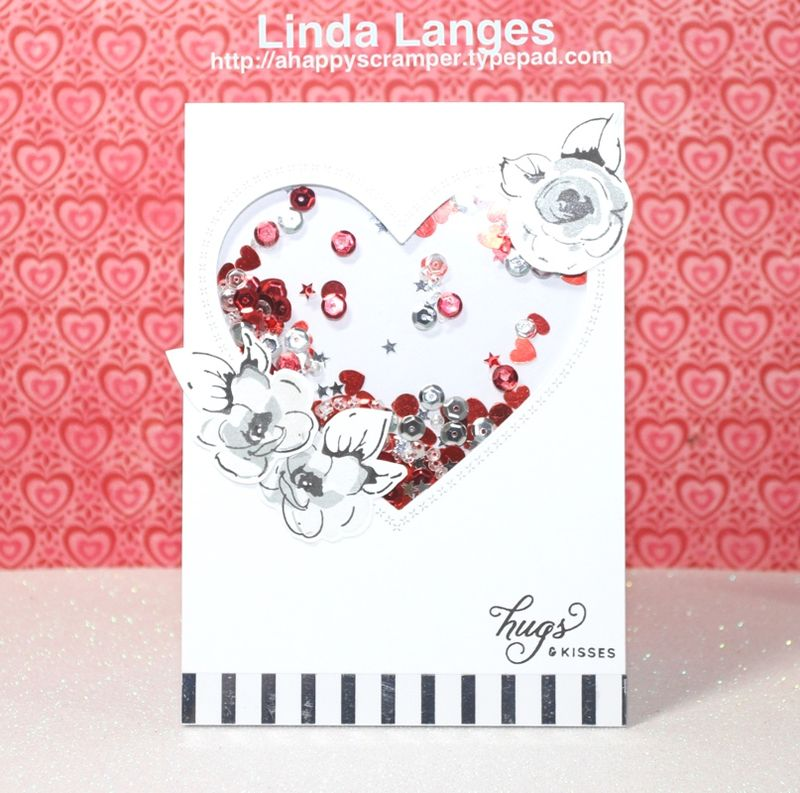Painted flowers heart card