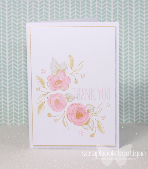 Scrapbook Boutique May Challenge, Altenew Painted Flowers, pink and gold, Clean and simple