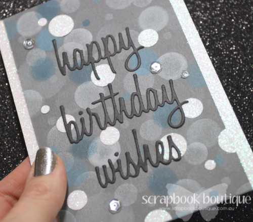 Scrapbook Boutique July Challenge; #scrapbookboutique; Linda Langes; bokeh; birthday card