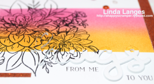 WPlus9 Beautiful Bouquets Dahlia, #WPlus9, Ink Blending, Lawn Fawn Scripty Hugs, #sssfave, #ssswchallenge, #sssmchallenge