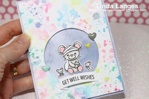 Get Well Card, #wplus9, #sssfave, #watercolour, Darkroom Door Splatter Background Stamp, Linda Langes, Distress Inks