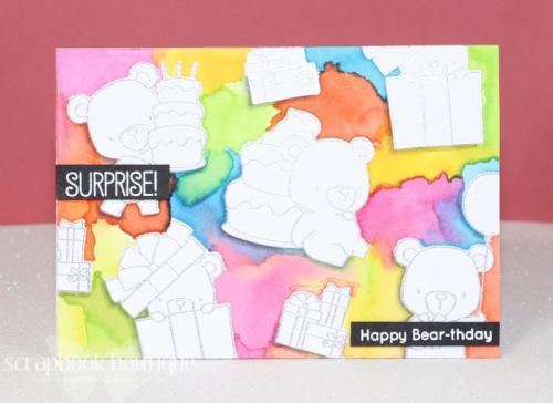 MFT Beary Special Birthday, watercolour, Distress Inks, #mft, #distressinks