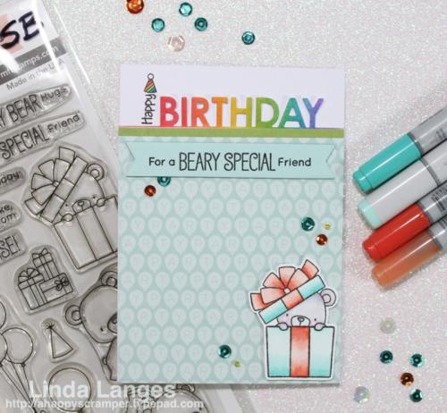 #mftstamps, birthday card, MFT Beary Special Birthday Stamp Set, rainbow,