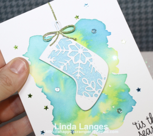 Penny Black, Linda Langes, Christmas Card, Distress Ink, Watercolouring, Christmas Stocking, Happy Scramper.