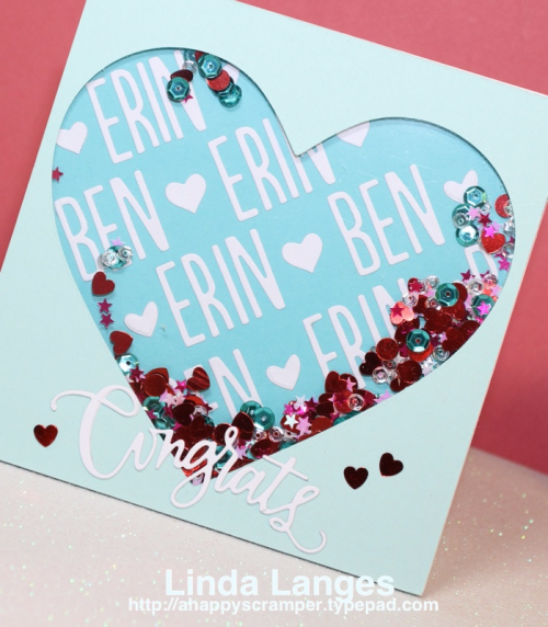 Engagement Card, shaker card, MFT, SSS Congratulations, Personalised Card, Linda Langes, Happy Scramper.