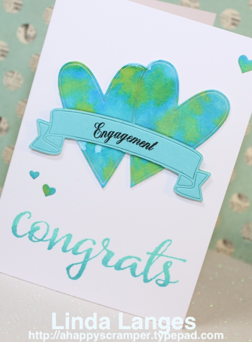 Engagement Card, Aqua, Memory Box Double Heart Banner Die, Distress Inks, Happy Little Stampers Especially For You Stamp set, Linda Langes, Happy Scramper