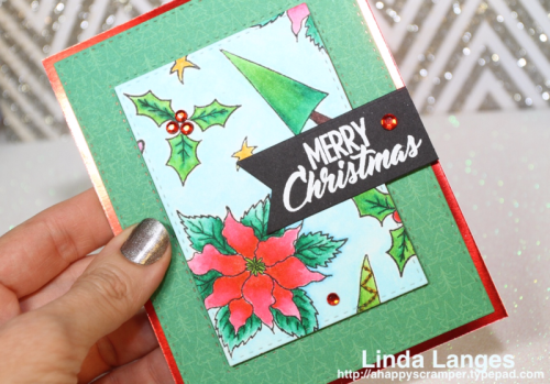 Christmas card, Happy Little Stampers Christmas Joy Stamp Set, Linda Langes, 12 Days of Christmas Challenge