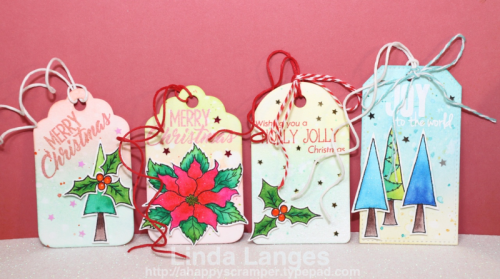 Gift Tags, Christmas, Happy Little Stampers, Christmas Joy Stamp Set, Linda Langes, Happy Scramper, Distress Inks, Ink Blending