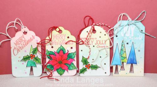 Gift Tags, Christmas, Happy Little Stampers, Christmas Joy Stamp Set, Linda Langes, Happy Scramper, Distress Inks, Ink Blending