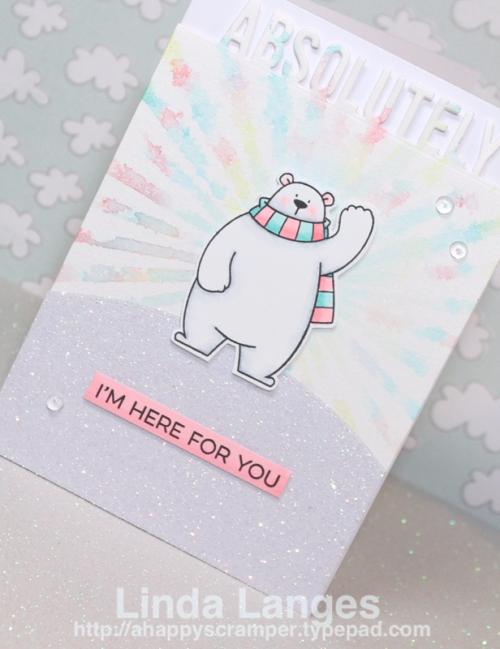 MFT Polar Bear Pals, Scrapbook Boutique, Linda Langes, Happy Scramper, Friendship Card, sunray background, Distress Inks, MFT Essential Sentiments Stamp Set