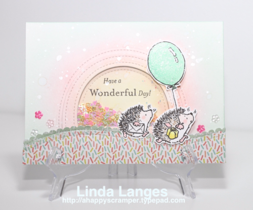 Penny Black Wonderful Hedgy Birthday Shaker Card, #ssswchallenge, Linda Langes, Happy Scramper, shaker card, cardmaking video