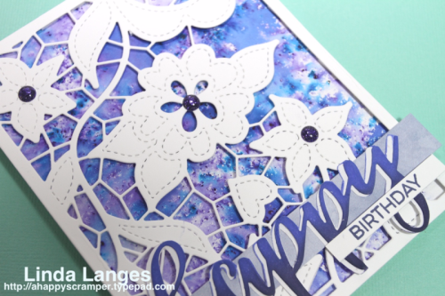 Linda Langes for Scrapbook Boutique, Altenew Doodled Lace Cover Die and Script Words 2, Brushos.