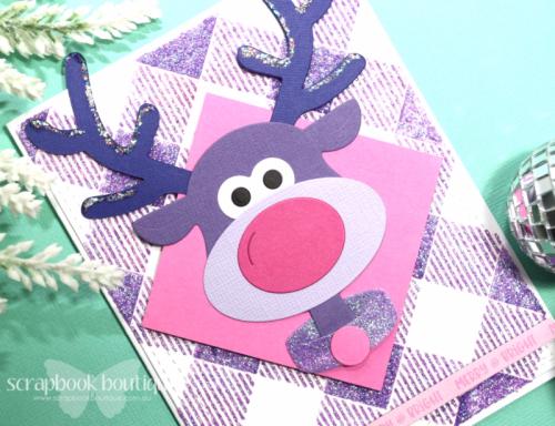 Cheery Lynn Brad the Reindeer Dies; Linda Langes, Scrapbook Boutique, die-cutting; Christmas Card.