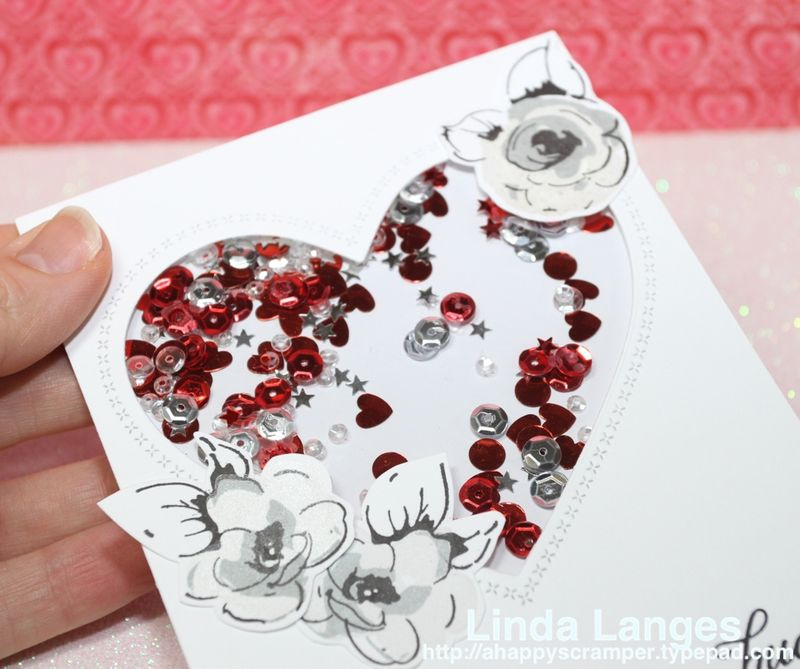 Painted flowers heart card CU