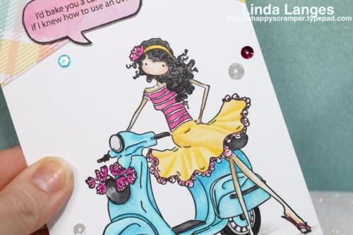 Stamping Bella Vienna and her Vespa; Prismacolor Pencils; Linda Langes; #virginiasviewchallenge; #stampingbella