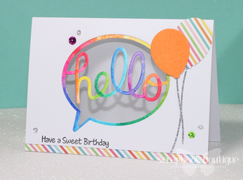 Scrapbook Boutique; MFT Die-Namics; Birthday Card; Linda Langes; rainbow; Zig Clean Color Real Brush Markers