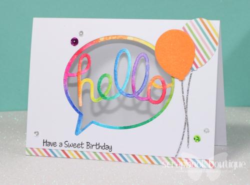 Scrapbook Boutique; MFT Die-Namics; Birthday Card; Linda Langes; rainbow; Zig Clean Color Real Brush Markers
