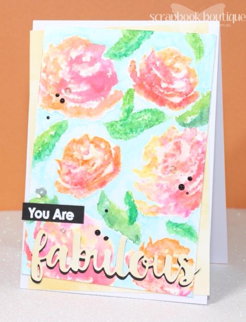 Altenew Brush Art Florals; MFT Absolutely Fabulous Die-namics; #altenew; #mft; #scrapbookboutique; Zig Clean Colour Real Brush Markers.