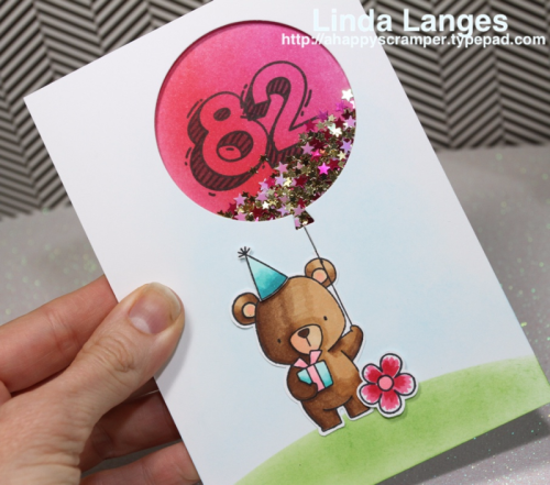 MFT Beary Special Birthday; shaker card; Waffle Flower Sketchy Numbers; Linda Langes; birthday card; #mftstamps; #waffleflower,