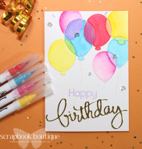 Scrapbook Boutique September Challenge, #scrapbookboutique, balloons, birthday card, Zig Clean Color Real Brush Markers, watercolour