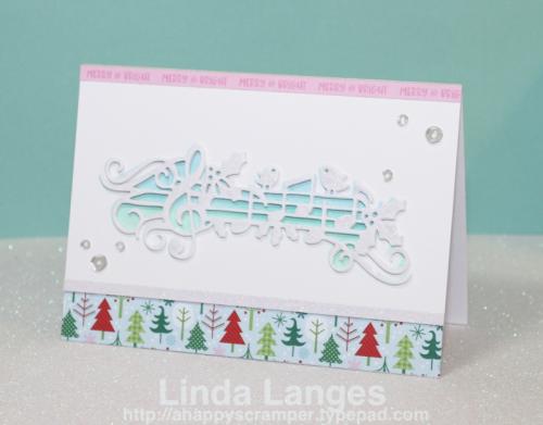 Doodlebug Here Comes Santa Claus Paper Pad, Yvonne Creations Holly Jolly Music Border Die, Ink Blending, Linda Langes, Happy Scramper. Christmas Card