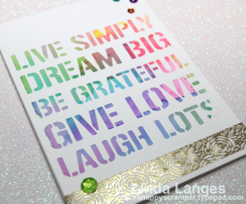 Kaisercraft Cardfront Die, Zig Clean Color Real Brush Markers, cardmaking video, Linda Langes, Happy Scramper, papercrafting, watercolored background.