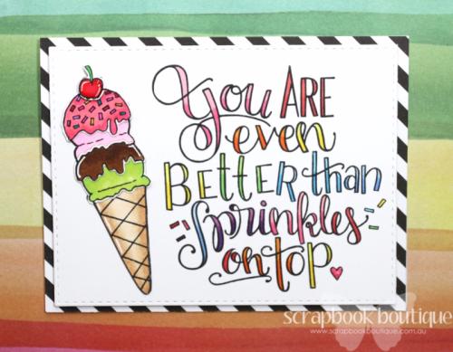 Linda Langes, Happy Scramper, Spellbinders Stamps and Dies-Ice Cream Cone; Copics, Copic Colouring.