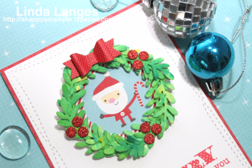 Lawn Fawn Large Wreath Dies, Linda Langes, die cutting, brushos, brusho powders, Christmas card, Hero Arts sentiment.