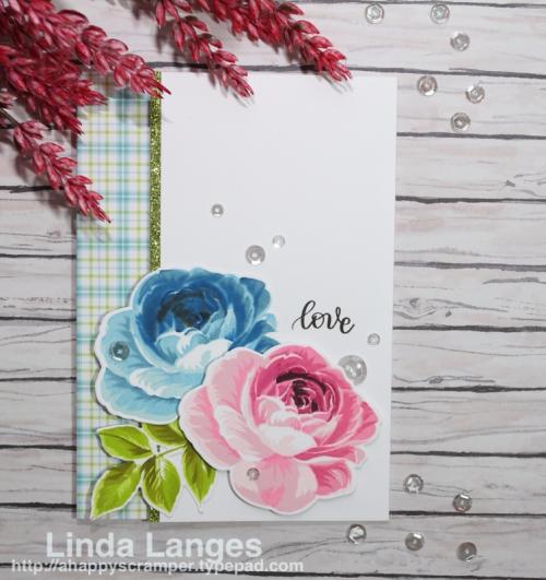 Altenew Build-A-Flower Rose, Simon Says Stamp Handlettered Encouragement; Linda Langes; Happy Scramper; layering stamps.