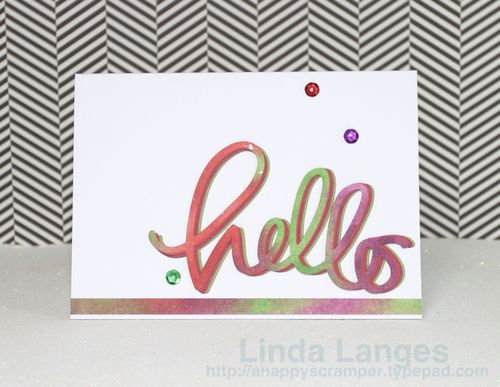 Watercoloured panels Hello card