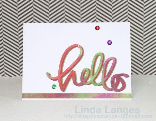 Watercoloured panels Hello card