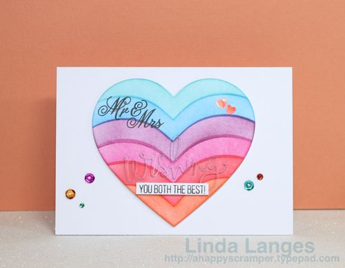 Ink Blended Heart Wedding Card