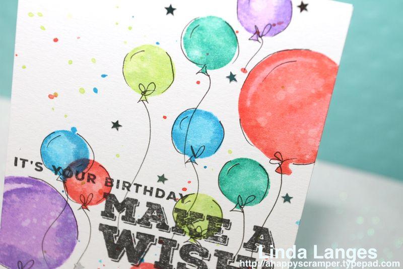Doodled balloons card CU