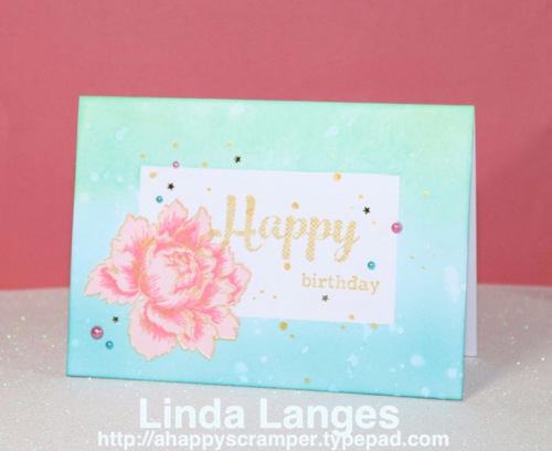 Peony Bouquet; Altenew; ink blending; Distress Inks; birthday card.