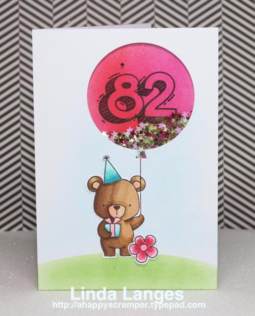 MFT Beary Special Birthday; shaker card; Waffle Flower Sketchy Numbers; Linda Langes; birthday card; #mftstamps; #waffleflower,