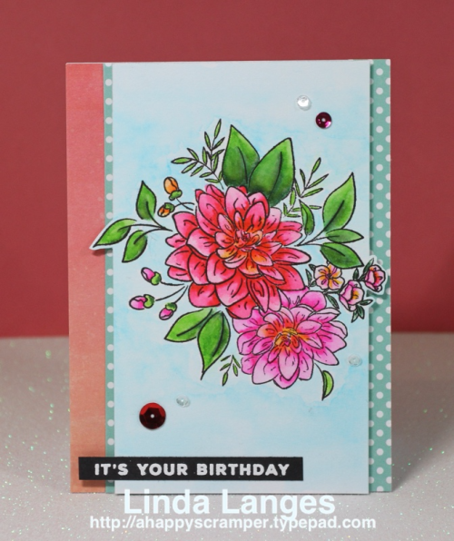#WPlus9, #ssswchallenge, Birthday Card, WPlus9 Beautiful Bouquets Dahlias, Zig Clean Color Real Brush Markers, watercolour, Linda Langes
