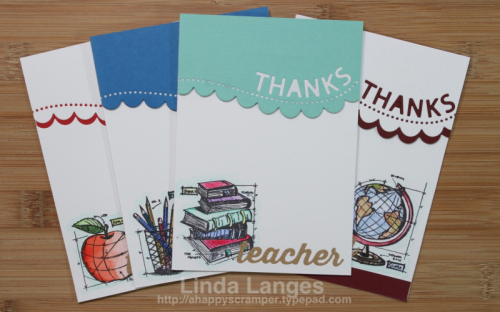 #timholtz, Tim Holtz Schoolhouse Stamps, Teacher Cards, Kuretake Gansai Tambi