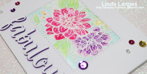 WPlus9 Dahlia Bouquet, #mftstamps, Linda Langes, copic colouring,