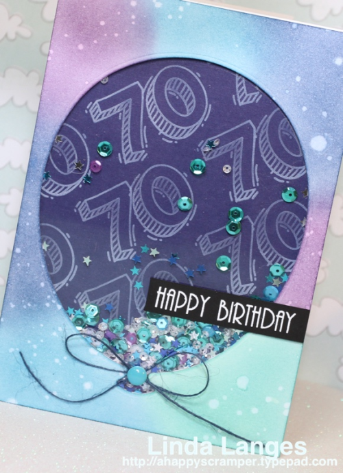70th Birthday Card, Linda Langes, Happy Scramper, Waffle Flower Sketchy Numbers, SSS Balloon Die, Shaker Card, Ink Blending, Distress Inks.