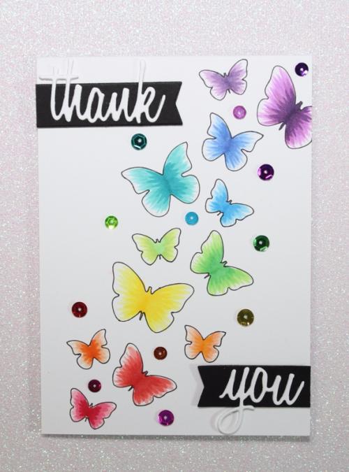 Echo Park Butterflies Stencil, Copics, Linda Langes, Happy Scramper, Thank You Card
