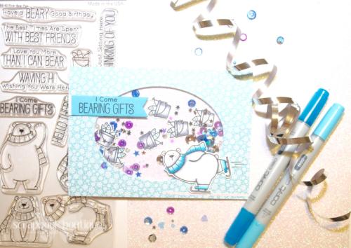 MFT Polar Bear Pals, shaker card, Linda Langes, Happy Scramper, Copics