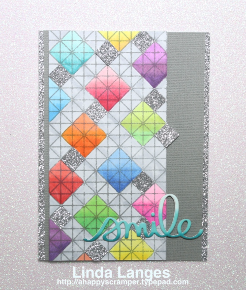 Creating a background with SSS Lattice Grid stamp and Copic markers