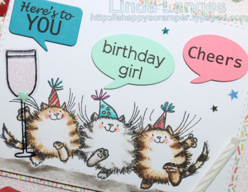 Penny Black Party Friends, Copics, Birthday Card, Linda Langes, Happy Scramper,